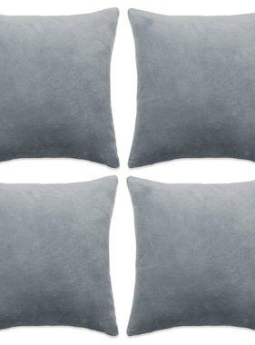 vidaXL Sierkussenhoezen 50x50 cm velours grijs 4 st
