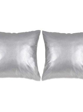 vidaXL Sierkussenset 60x60 cm PU zilver 2-delig