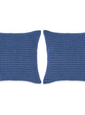 vidaXL Sierkussenset 45x45 cm velours blauw 2-delig