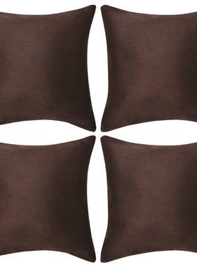vidaXL Kussenhoezen 4 stuks bruin imitatie suède 50x50 cm polyester
