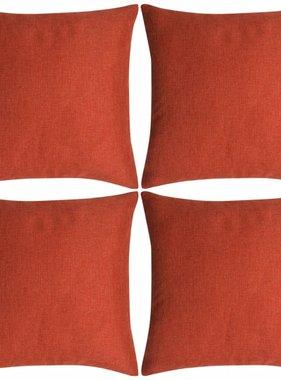 vidaXL Kussenhoezen 4 stuks linnen look terracotta 80x80 cm
