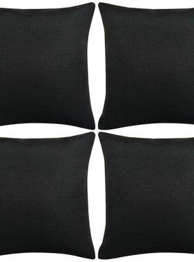 vidaXL Kussenhoezen 4 stuks linnen look zwart 80x80 cm
