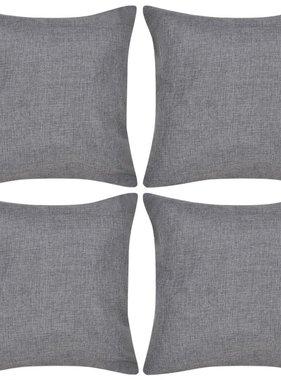 vidaXL Kussenhoezen linnen look 40 x 40 cm antraciet 4 stuks