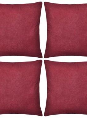 vidaXL Kussenhoezen katoen 40 x 40 cm bordeauxrood 4 stuks