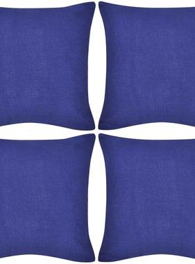 vidaXL Kussenhoezen katoen 50 x 50 cm blauw 4 stuks