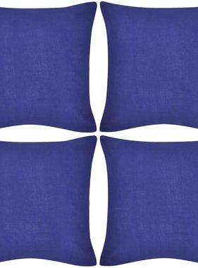 vidaXL Kussenhoezen katoen 40 x 40 cm blauw 4 stuks