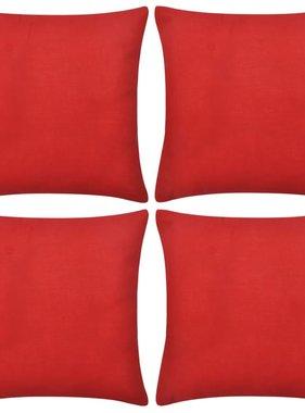 vidaXL Kussenhoezen Katoen 40x40cm rood 4 stuks