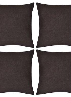 vidaXL Kussenhoezen katoen 50 x 50 cm bruin 4 stuks