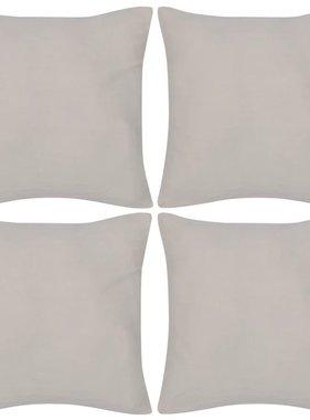 vidaXL Kussenhoezen katoen 80 x 80 cm beige 4 stuks