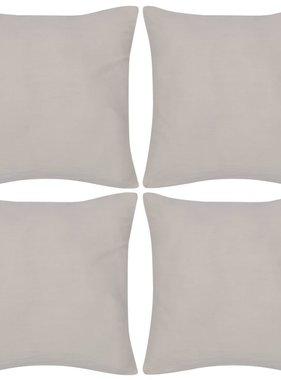 vidaXL Kussenhoezen katoen 40 x 40 cm beige 4 stuks