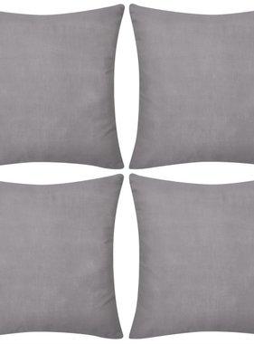 vidaXL Kussenhoezen katoen 80 x 80 cm grijs 4 stuks