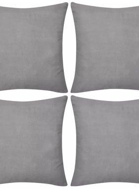 vidaXL Kussenhoezen katoen 50 x 50 cm grijs 4 stuks