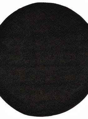vidaXL Vloerkleed shaggy hoogpolig 120 cm zwart