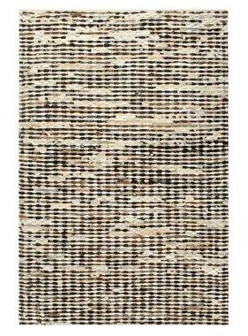 vidaXL Tapijt patchwork 80x150 cm echt harig leer zwart en wit