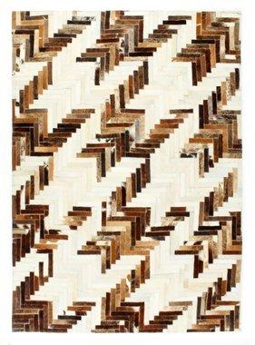vidaXL Vloerkleed patchwork 120x170 cm echt harig leer bruin/wit
