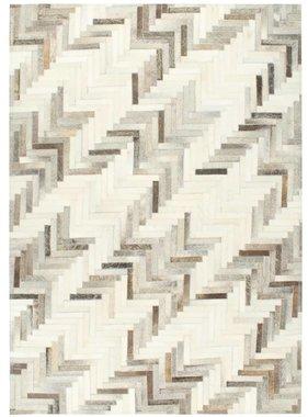 vidaXL Vloerkleed patchwork 80x150 cm echt harig leer grijs/wit