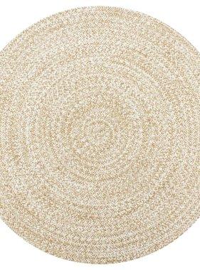 vidaXL Vloerkleed handgemaakt 150 cm jute wit en naturel