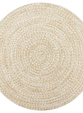 vidaXL Vloerkleed handgemaakt 90 cm jute wit en naturel