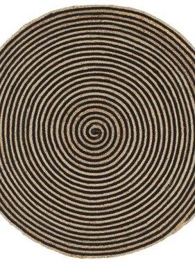 vidaXL Vloerkleed handgemaakt met spiraal print 150 cm jute zwart