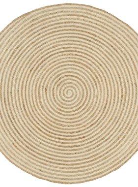 vidaXL Vloerkleed handgemaakt met spiraal print 120 cm jute wit