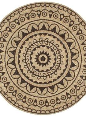vidaXL Vloerkleed handgemaakt met donkerbruine print 120 cm jute