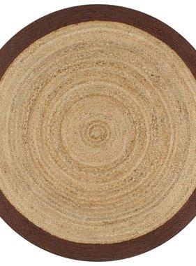 vidaXL Vloerkleed handgemaakt met bruine rand 90 cm jute