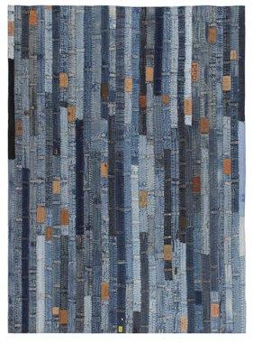 vidaXL Tapijt jeans tailleband patchwork 80x150 cm denim blauw