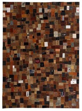 vidaXL Tapijt jeans label patchwork 80x150 cm echt leer bruin
