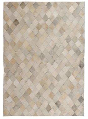vidaXL Tapijt ruit patchwork 120x170 cm echt leer grijs