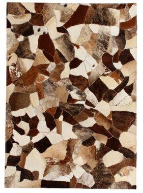 vidaXL Tapijt gemengd patchwork 120x170 cm echt leer bruin/wit