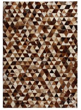 vidaXL Tapijt driehoek patchwork 120x170 cm echt leer bruin/wit