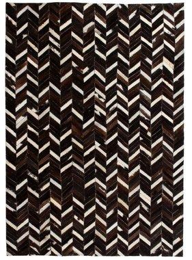 vidaXL Tapijt chevron patchwork 120x170 cm echt leer zwart/wit