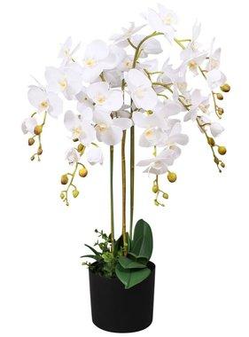 vidaXL Kunst orchidee plant met pot 75 cm wit