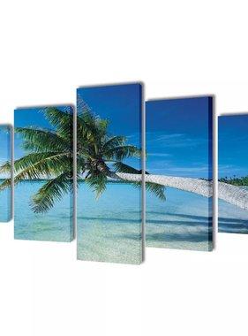 vidaXL Canvasdoeken zandstrand met palmboom 100 x 50 cm