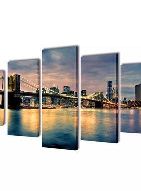 vidaXL Canvasdoeken Brooklyn Bridge rivier uitzicht 200 x 100 cm