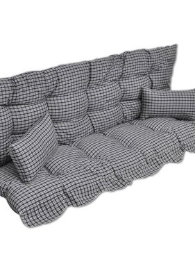 vidaXL 4-delige Kussenset voor schommelstoel stof blauw en wit