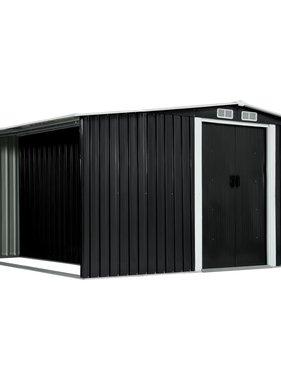 vidaXL Tuinschuur met schuifdeuren 329,5x312x178 cm staal antraciet