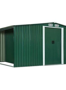 vidaXL Tuinschuur met schuifdeuren 329,5x131x178 cm staal groen
