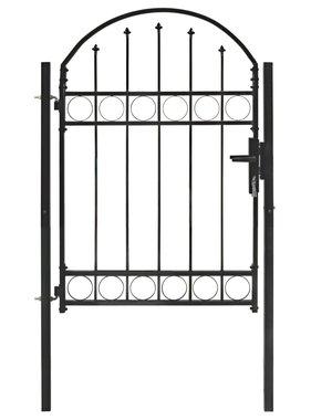 vidaXL Tuinpoort met gebogen bovenkant 100x125 cm staal zwart