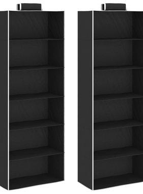 vidaXL Kledingorganisers hangend 2 st met 6 schappen stof
