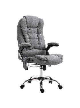 vidaXL Massage kantoorstoel polyester grijs