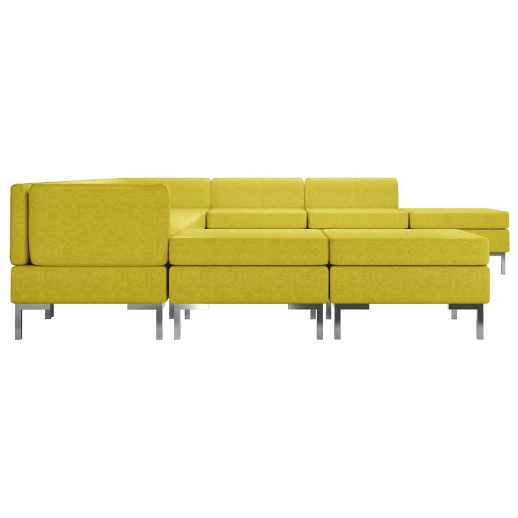 vidaXL 10-delig Bankstel stof geel