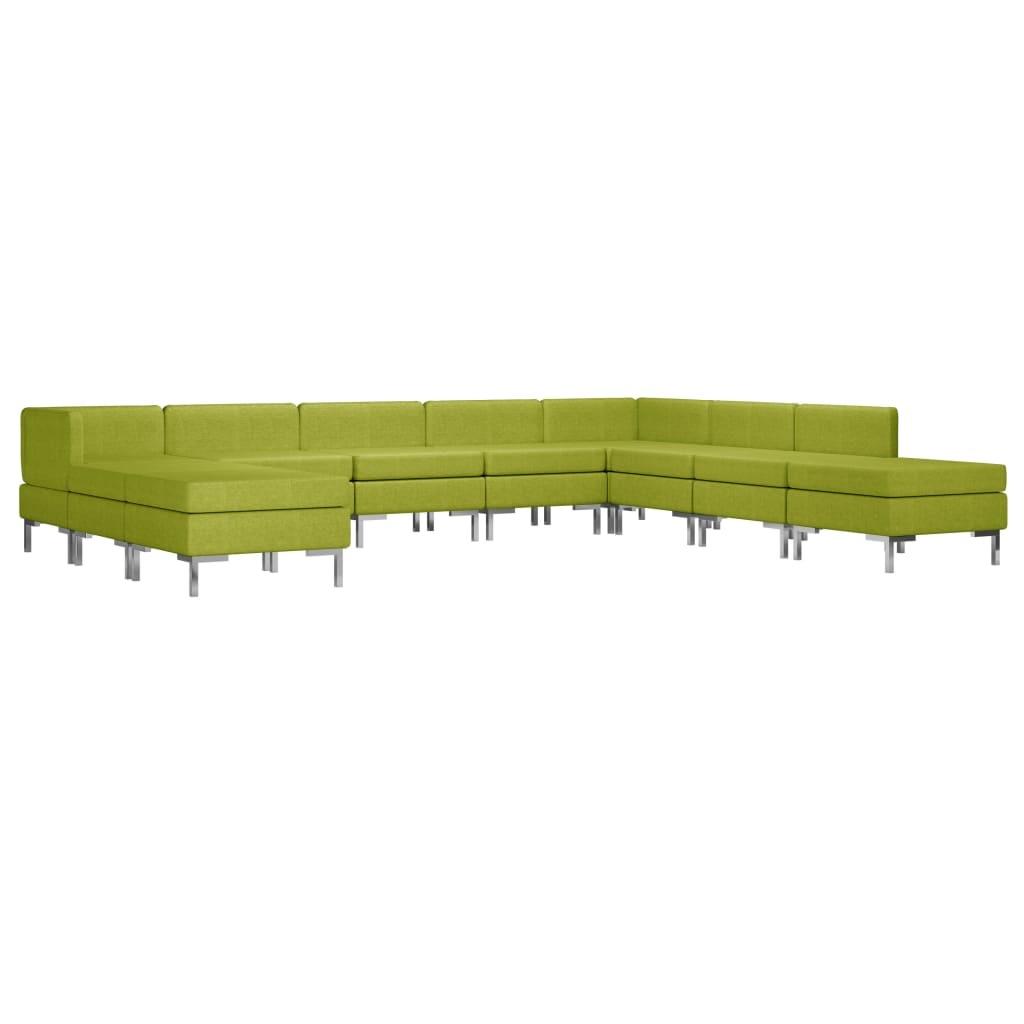 vidaXL 10-delig Bankstel stof groen