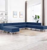 vidaXL 10-delig Bankstel stof blauw