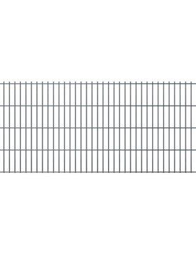 vidaXL Dubbelstaafmatten & palen 2008 x 1030 mm 26 m grijs 13 + 14 st