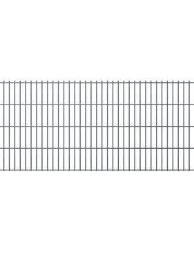 vidaXL Dubbelstaafmatten & palen 2008 x 1030 mm 22 m grijs 11 + 12 st
