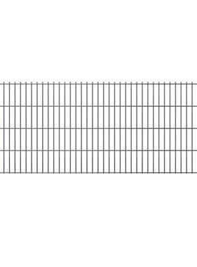 vidaXL Dubbelstaafmatten & palen 2008 x 1030 mm 20 m grijs 10 + 11 st