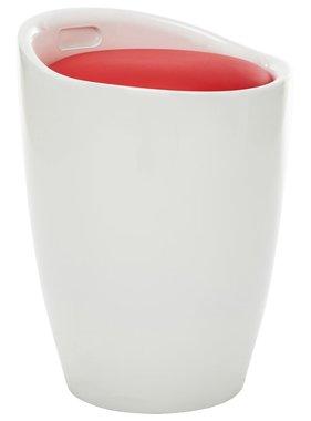vidaXL Opbergkruk kunstleer wit en rood