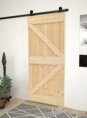 vidaXL Schuifdeur met beslag 100x210 cm massief grenenhout