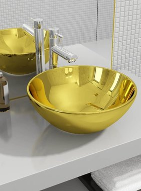 vidaXL Wastafel 32,5x14 cm keramiek goudkleurig